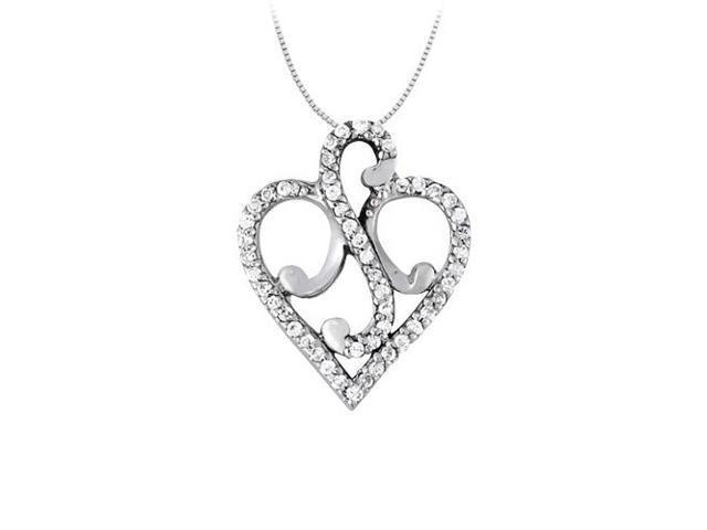 April birthstone Cubic Zirconia Fancy Heart Pendant in Sterling Silver 0.25 CT TGW