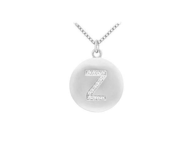 Diamond Initial Z Disc Pendant  14K White Gold - 0.25 CT Diamonds