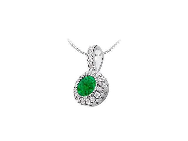 Emerald and Diamond Circle Pendant  14K White Gold - 1.25 CT TGW