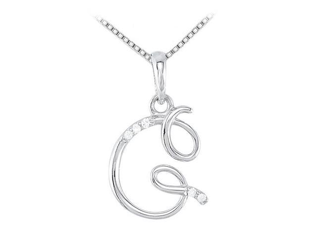 Cubic Zirconia on Script G Initial Pendant in Rhodium 925 Sterling Silver 0.05 Carat TGW