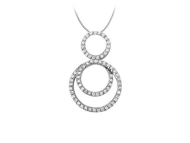 Cubic Zirconia Triple Circle Pendant in 14K White Gold 0.75 CT TGWJewelry Gift for Women