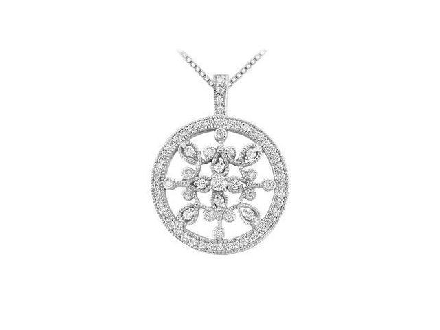 Diamond Floral Circle Pendant  14K White Gold - 0.66 CT Diamonds