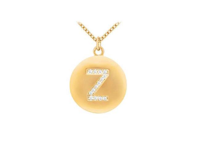 Diamond Initial Z Disc Pendant  14K Yellow Gold - 0.25 CT Diamonds