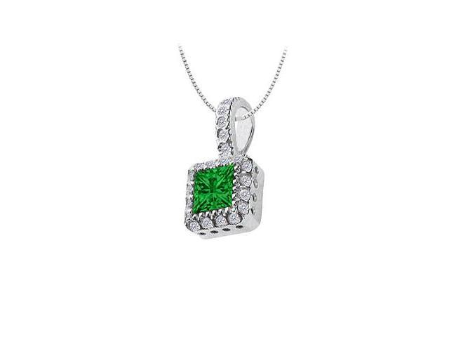Emerald and Diamond Pendant  14K White Gold - 0.75 CT TGW