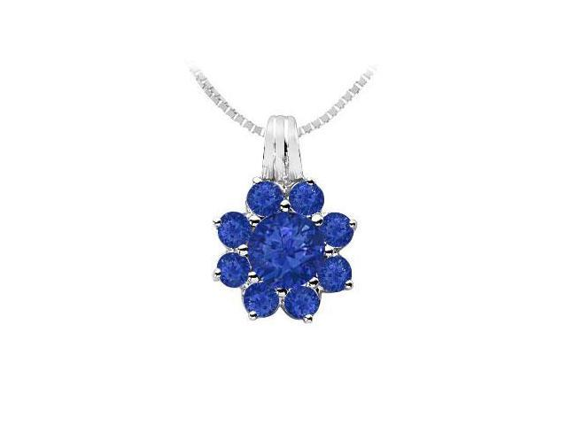 Blue Sapphire Flower Pendant  14K White Gold - 2.75 CT TGW
