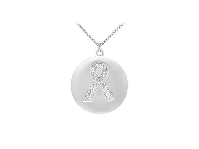 Diamond Breast Cancer Awareness Ribbon Disc Pendant  14K White Gold - 0.15 CT Diamonds
