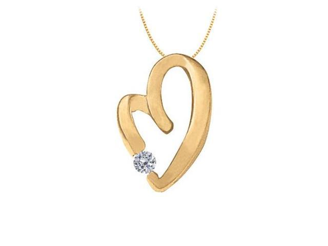April Birthstone CZ Heart Pendant in Sterling Silver with Yellow Gold Vermeil 0.15 CT TGW