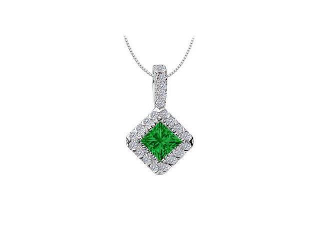 Emerald and Diamond Pendant  14K White Gold - 0.75 CT TGW