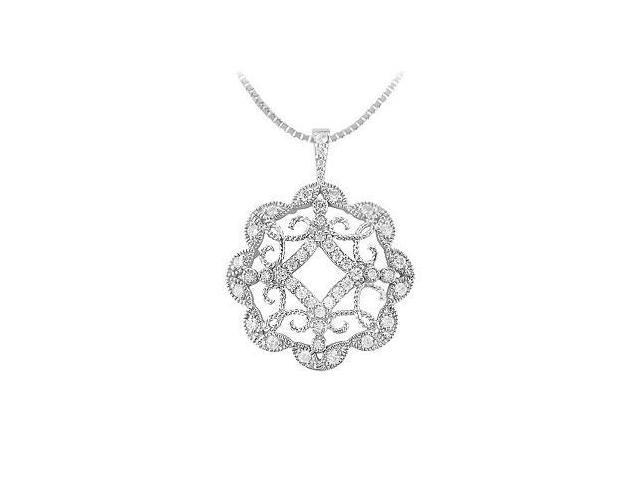 Diamond Floral Circle Pendant  14K White Gold - 0.50 CT Diamonds