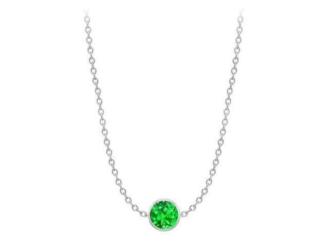 Diamond By The Yard Frosted Emerald Necklace on 14K White Gold Bezel Set 1.00 ct.tw