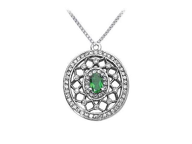 Emerald and Diamond Pendant  14K White Gold - 1.50 CT TGW