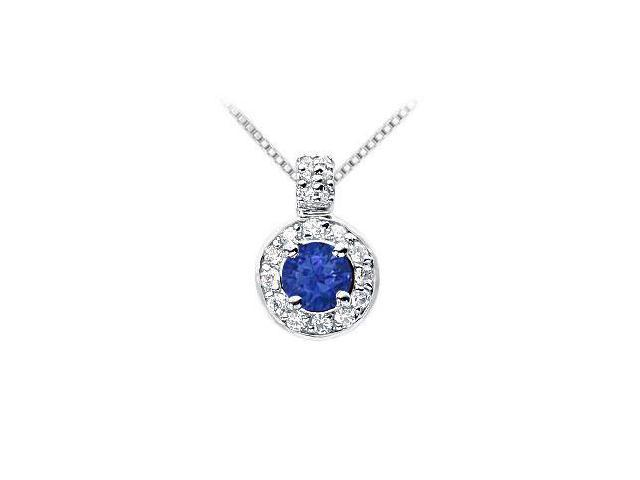 Sapphire and Diamond Pendant  14K White Gold - 1.25 CT TGW