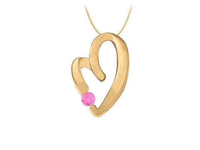 September Birthstone Pink Sapphire Heart Pendant in Sterling Silver with Yellow Gold Vermeil