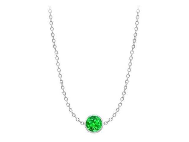 Diamond By The Yard Frosted Emerald Necklace on 14K White Gold Bezel Set 2.00 ct.tw