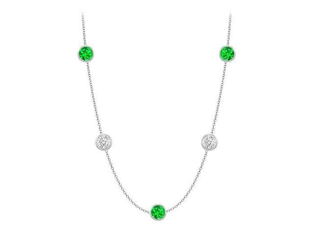 Diamonds By The Yard Frosted Emeralds and CZ Necklace on 14K White Gold Bezel Set 25.00 ct.tw