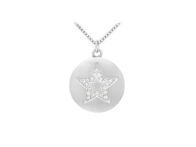 Diamond Star Disc Pendant  14K White Gold - 0.15 CT Diamonds