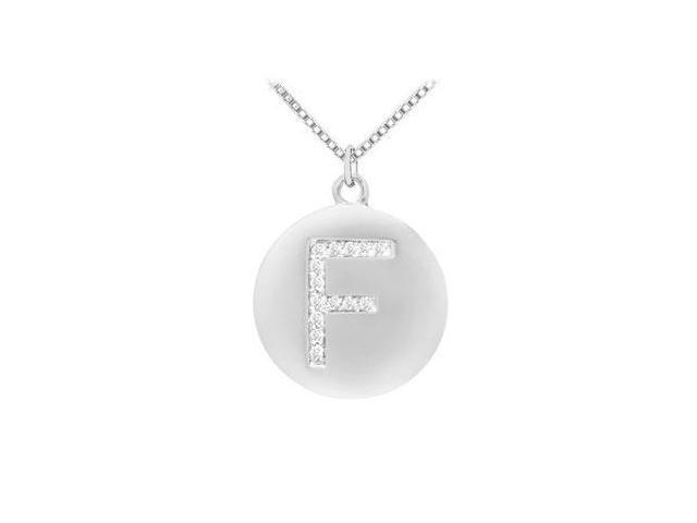 Diamond Initial F Disc Pendant  14K White Gold - 0.25 CT Diamonds