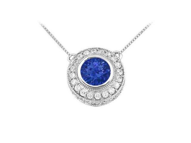 Sapphire and Diamond Pendant  14K White Gold - 0.66 CT TGW