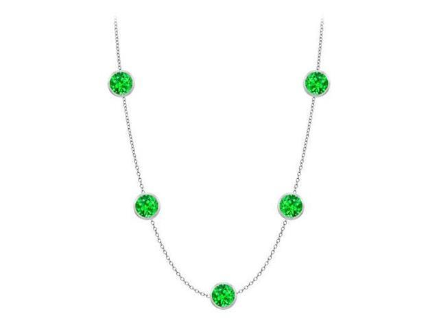 Diamonds By The Yard Frosted Emerald Necklace on 14K White Gold Bezel Set 1.00 ct.tw