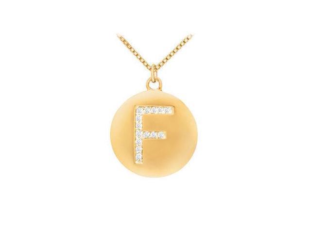 Diamond Initial F Disc Pendant  14K Yellow Gold - 0.25 CT Diamonds