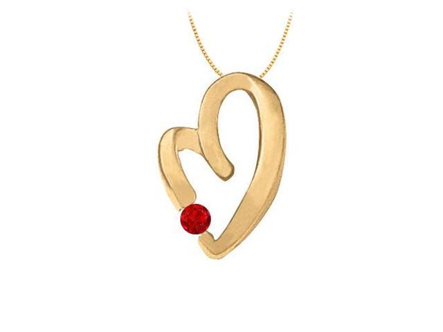 July Birthstone Ruby Heart Pendant in Sterling Silver with Yellow Gold Vermeil 0.15 CT TGW.