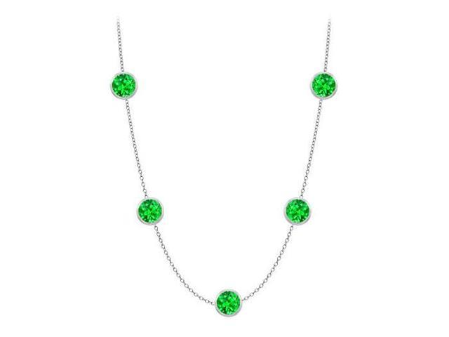 Diamonds By The Yard Frosted Emerald Necklace on a14K White Gold Bezel Set 35.00 ct.tw