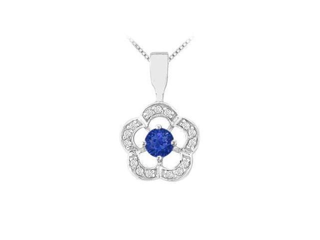 Sapphire and Diamond Flower Pendant  14K White Gold - 0.50 CT TGW