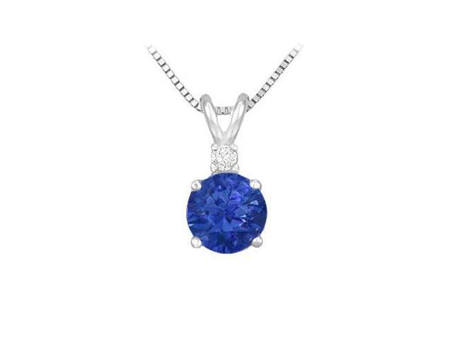 Diamond and Sapphire Solitaire Pendant  14K White Gold - 1.00 CT TGW