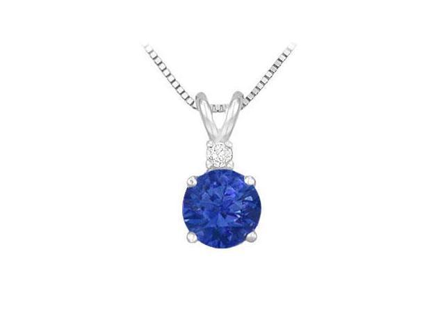 Diamond and Sapphire Solitaire Pendant  14K White Gold - 1.00 CT TGW
