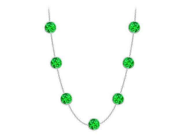 Diamonds By The Yard Frosted Emerald Necklace on 14K White Gold Bezel Set 2.00 ct.tw