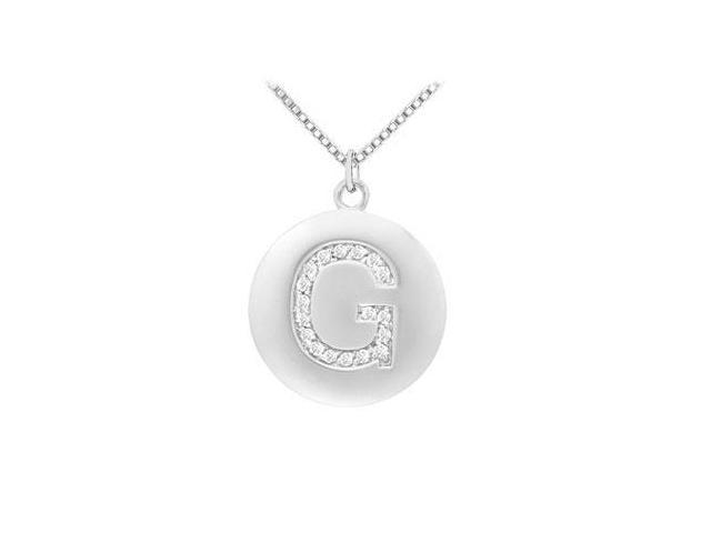 Diamond Initial G Disc Pendant  14K White Gold - 0.33 CT Diamonds