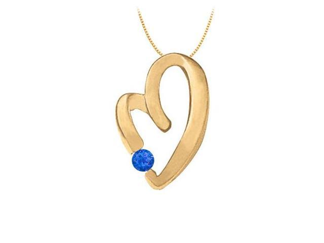 September Birthstone Sapphire Heart Pendant in Sterling Silver with Yellow Gold Vermeil 0.15 CT