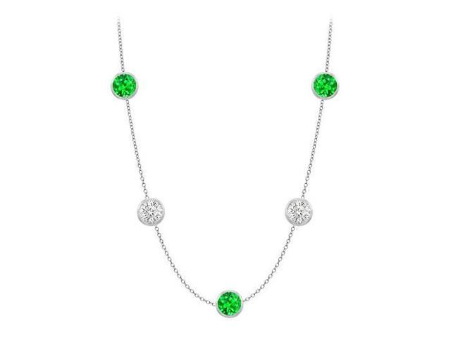 Diamonds By The Yard Frosted Emeralds and CZ Necklace on 14K White Gold Bezel Set 35.00 ct.tw