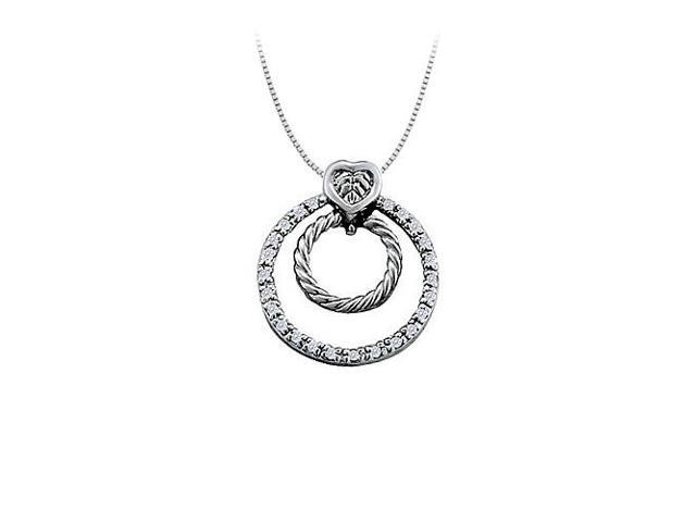 Cubic Zirconia Double Circle Pendant in 14K White Gold 0.33 CT TGWJewelry Gift for Women