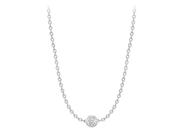 Diamonds By The Yard Necklace in 18K White Gold Bezel Set 0.50 ct.tw
