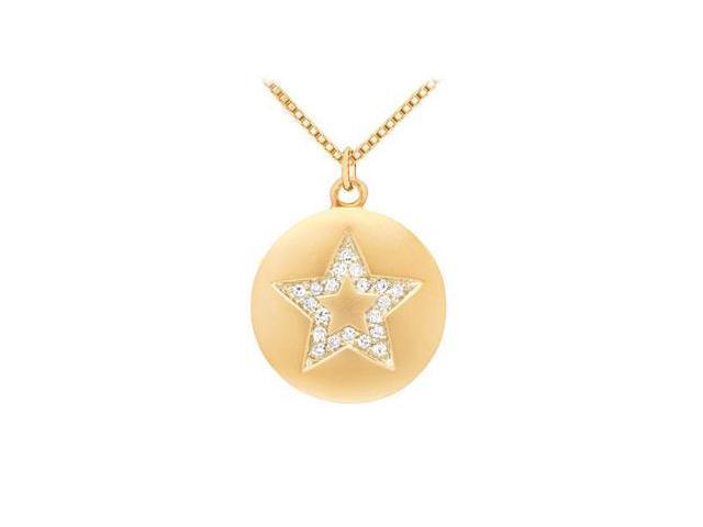 Diamond Star Disc Pendant  14K Yellow Gold - 0.15 CT Diamonds