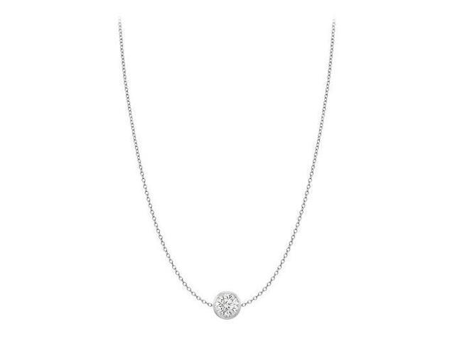 Diamond By The Yard Necklace in 14K White Gold Bezel Set 0.20 ct.tdw