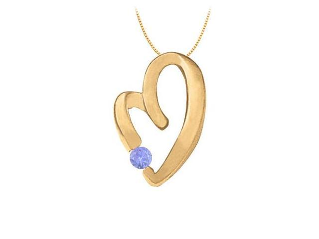 December Birthstone Tanzanite Heart Pendant in Sterling Silver with Yellow Gold Vermeil 0.15 CT