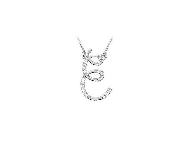 Diamond Letter E Script Initial Pendant  14K White Gold - 0.10 CT Diamonds