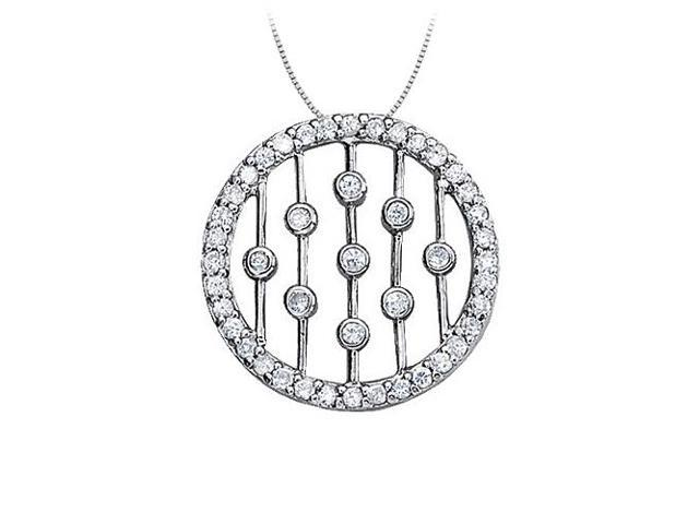 Cubic Zirconia Circle Fancy Fashion Pendant in 14K White Gold 0.50 CT TGW with White Gold Chain