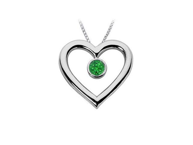Emerald Heart Pendant  14K White Gold - 0.75 CT TGW