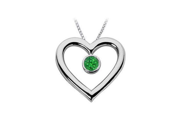 Emerald Heart Pendant  14K White Gold - 0.75 CT TGW