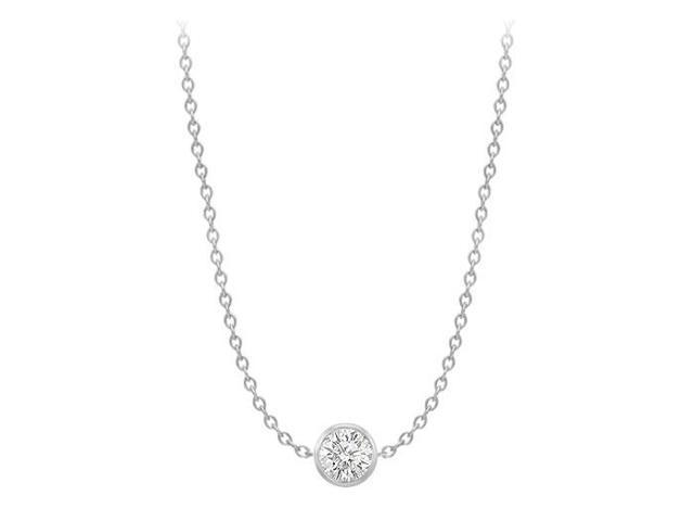 Diamond By The Yard Necklace in 14K White Gold Bezel Set 0.75 ct.tw