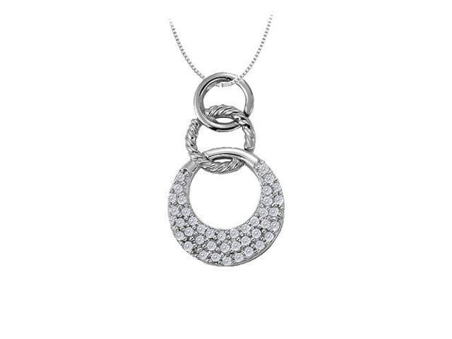 Cubic Zirconia Triple Circle Pendant in 14K White Gold 0.33 CT TGWJewelry Gift for Women