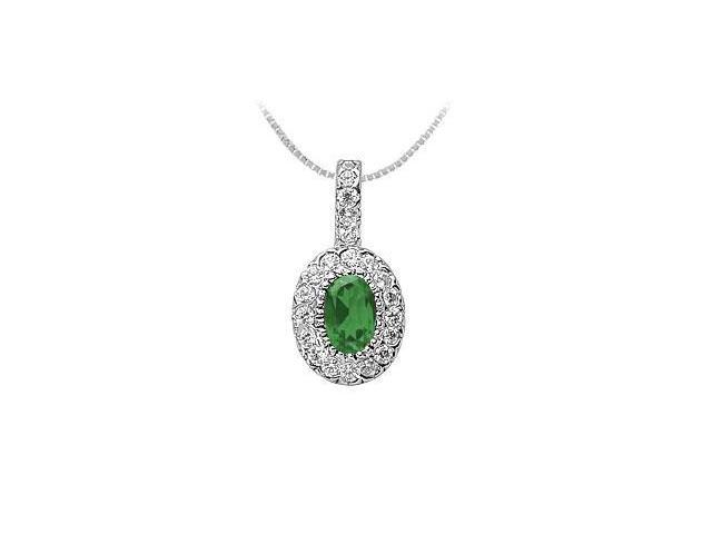 Emerald and Diamond Pendant  14K White Gold - 1.25 CT TGW