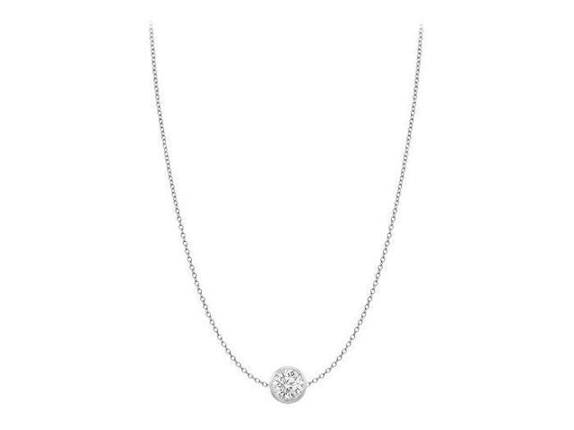 Diamond By The Yard Necklace in 18K White Gold Bezel Set 0.25 ct.tw