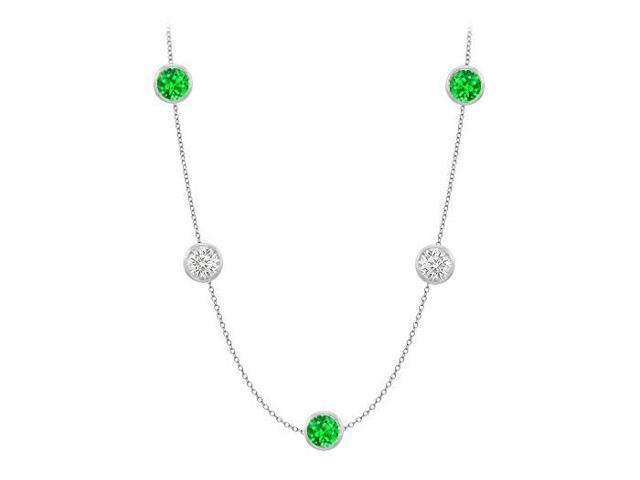 Diamonds By The Yard Frosted Emeralds and CZ Necklace on 14K White Gold Bezel Set 50.00 ct.tw
