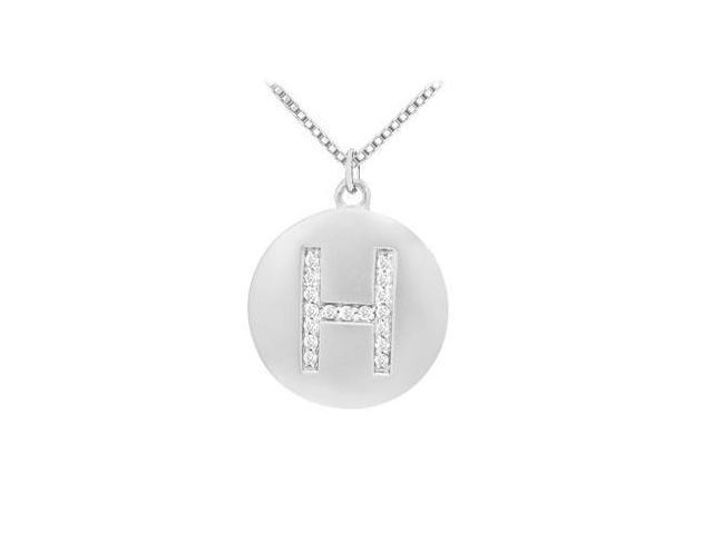 Diamond Initial H Disc Pendant  14K White Gold - 0.25 CT Diamonds