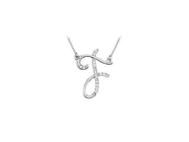 Cubic Zirconia Letter F Script Initial Pendant  .925 Sterling Silver - 0.10 CT TGW