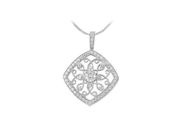 Diamond Floral Pendant  14K White Gold - 0.75 CT Diamonds